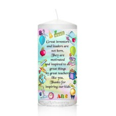 "Thank You Teacher Candle 0122 which includes: 1 x  6 inch Pillar Candle approx. 15cmx6,5cm (white) or 1 x 9 inch Pillar Candle approx. 20cmx7cm (white) Our Thank You Teacher Candle 0122 100% Hand-Finished and Hand-Decorated. We don't use any paper, stickers or plastic wraps that could peel off after some time. We incorporate all the images and text details into candle's wax, giving the candle smooth satin like finish. Our special coating process will ensure your candle lasts a lifetime! The color scheme of candle design can be personalized to suit your needs. Please specify the color scheme preferences when placing your order. Please note that exact matching of the selected color scheme can not be guaranteed but is as close as possible to each other. In addition, the actual color of the candles may differ from the color on the computer screen. PAYMENT: We accept credit card payments via PayPal only. To pay with PayPal all you need to have is a credit/VISA debit card OR PayPal balance. You even don't have to register for PayPal account. After you complete the ordering process on our website you'll be redirected to PayPal's page where you can pay for the order as a guest. Just click on the words ""Don't have a PayPal account?"" and you'll be able to key in your credit card's details yourself."