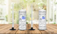 Wedding Unity Candle Set and Remembrance Candle Blue Rose