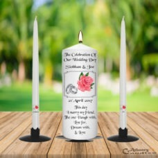 Wedding Unity Candle Set Pink Rose