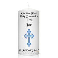 Communion Candle Cross Blue