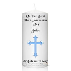 Communion Candle Blue Cross
