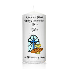 Communion Candle Blue Window-Cross