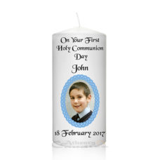 Communion Photo Candle Blue Braided Frame