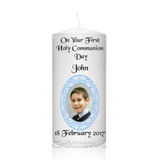 Communion Photo Candle Blue Baroque Frame