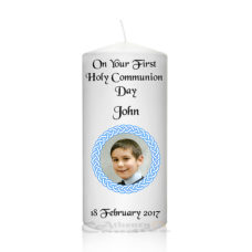 Communion Photo Candle Round Frame