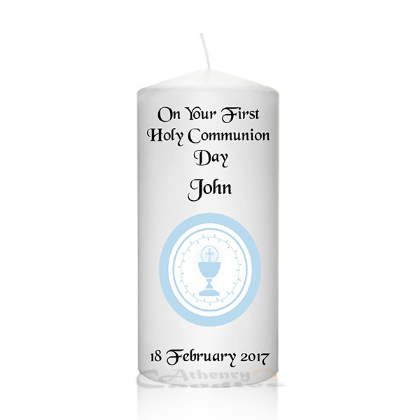 Communion Candle Blue Chalice