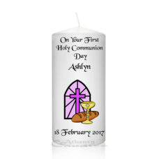 Communion Candle Pink Window-Cross