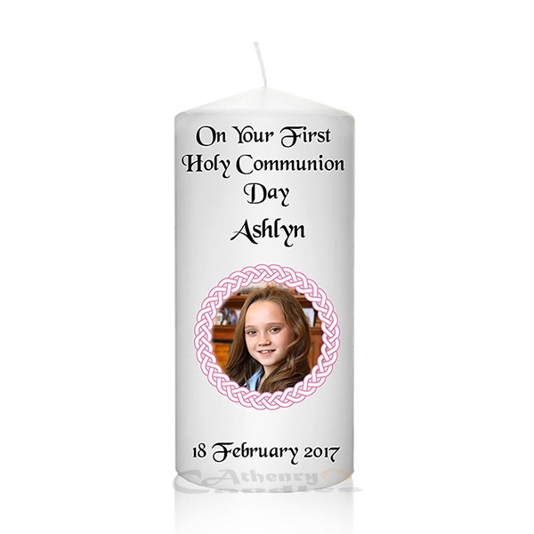 Communion Photo Candle Pink Round Frame