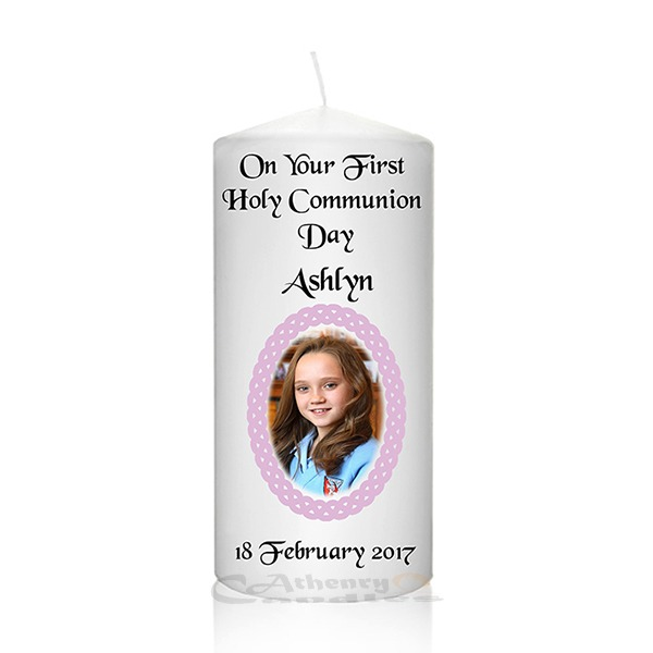 Communion Photo Candle Pink Braided Frame