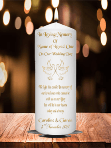 Wedding Remembrance Candle Gold Doves