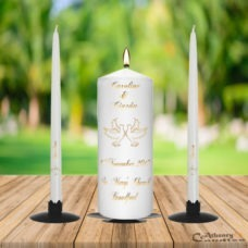 Wedding Unity Candle Set Gold Doves