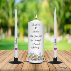 Wedding Unity Candle Set Purple Flowers