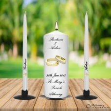 Wedding Unity Candle Set Gold Ring with Diamond