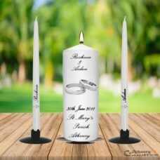 Wedding Unity Candle Set Silver Ring with Diamond