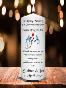 Wedding Remembrance Candle Blue Bird