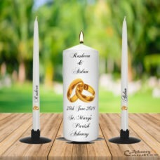Gold Ring Wedding Unity Candle Set