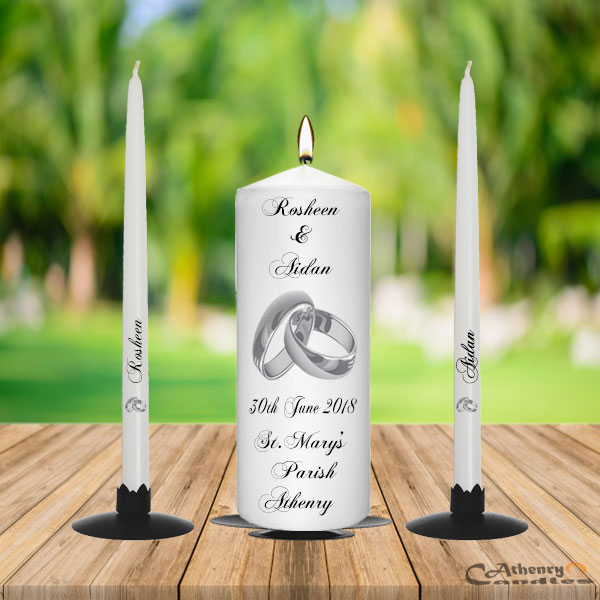 Silver Ring Wedding Unity Candle Set