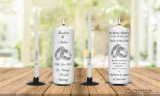 Wedding Unity Candle Set and Remembrance Candle Silver Ring