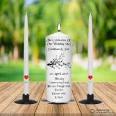 Wedding Unity Candle Set Bird Tree