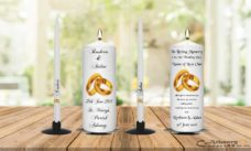 Wedding Unity Candle Set and Remembrance Candle Gold Ring