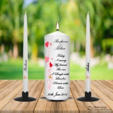 Wedding Unity Candle Set Red Hearts With the Gold Ring