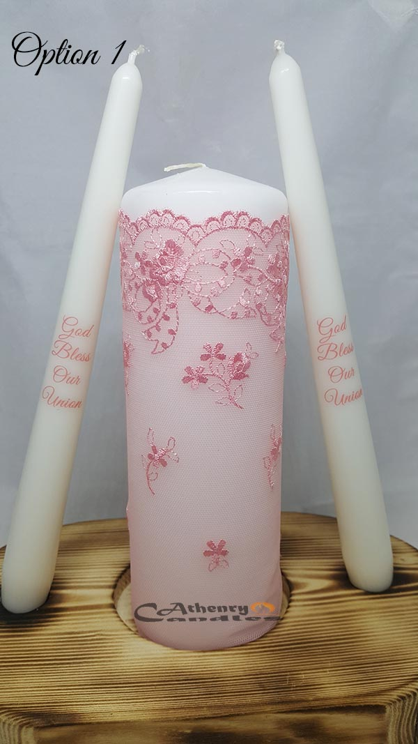 Lace Wedding Unity Candle Set Baby Pink