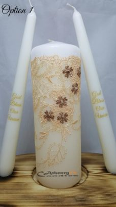 Lace Wedding Unity Candle Set Gold and Brown
