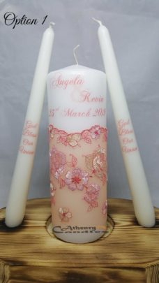 Lace Wedding Unity Candle Set Peach Flowers