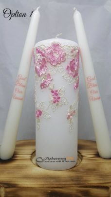 Lace Wedding Unity Candle Set Pink and Cream