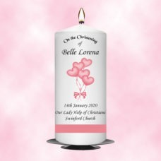 Christening Candle Girl Balloon With Pink Satin Ribbon